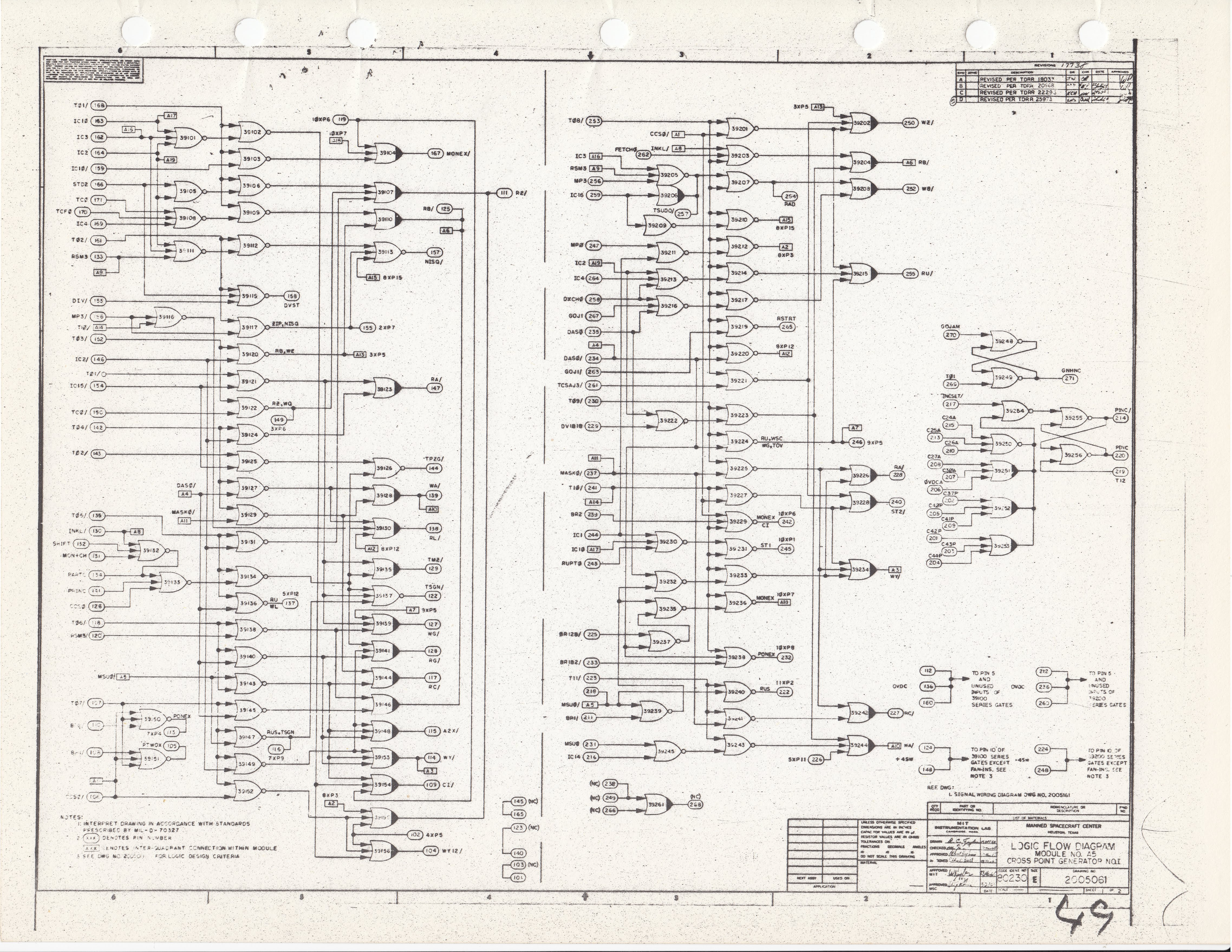 Virtual Agc Electrical Mechanical Page Of Fortune Circuit Diagram Electronic Diagrams Schematics And If We Look At That Drawing Will Indeed Find Connector Pin 111 Is Being Driven By Nor Gates 39107 39155