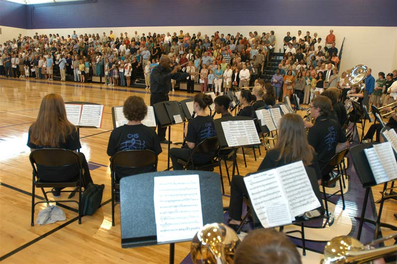 for the opening of Carrboro High School last Thursday (above).