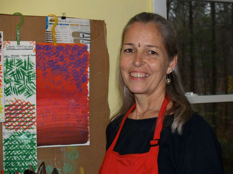 Maggi Grace, in her Carrboro studio, has truly found her way in the world. Photo by Valarie Schwartz.