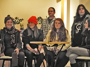 PHOTO BY VALARIE SCHWARTZ. A panel discussing teen substance abuse at a meeting in January included some of the teens of the Youth Community Project and their adult guides, from left to right, Rachel Valentine, Victoria Law, Michael Irwin, Jessica Batson, Sam Getka and Gabby Abrams. In conjunction with an adult board, the Teen Support Coalition, the teens are working toward creating a teen-run nonprofit coffeehouse/cultural center in Carrboro or Chapel Hill.