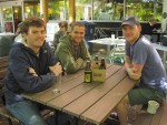 Willis Isley, Cody Maltais and Andrew Scharfenberg of Steel String Brewery, which will be Carrboro's first local craft brewery, sit out at Weaver Street on a beautiful spring day with some fresh beer samples. They say that a scene like this one is exactly the kind to which they wish to offer a locally made, quality craft beer.  Photo by Lucie Shelly