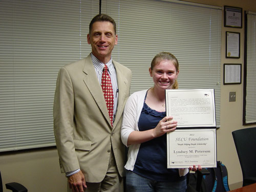 SECU Carrboro Advisory Board Chair Daniel Lehman and scholarship recipient Lyndsey Peterson.  Photo courtesy of SECU