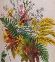 Goldenrod and Christmas fern anchor this extravagant bouquet of blue and white asters, white thoroughwort, wild oregeno, wild pink bean, wild sunflower, spiraled spikes of ladies' tresses and leaves of sourwood and sweet gum. PAINTING PHOTO BY KEN MOORE
