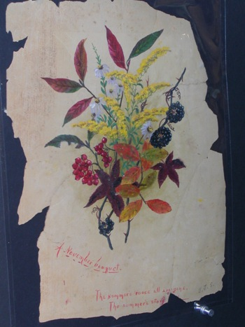 """A November bouquet"" depicts Cornelia Phillips Spencer's revered goldenrod with blue asters, black berries of catbrier, fruit of chokeberry and turning leaves of strawberry bush and sweetgum. Photo of original painting by Ken Moore"