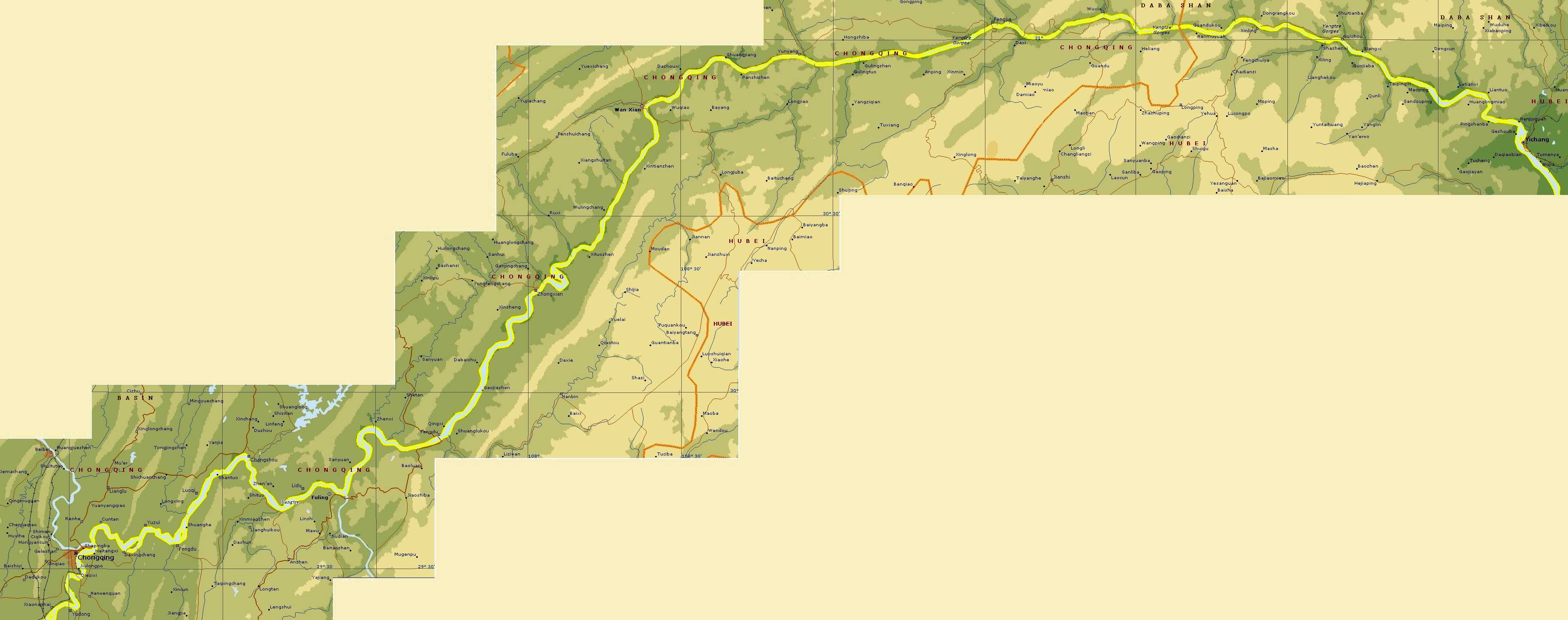 Three gorges dam map
