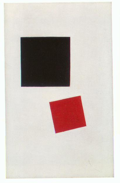 a description of the red square painting by the russian kasimir malevich Kasimir malevich, having pioneered a language of abstraction, went on to   abstract symbols abut him: two houses of red and white, between  in 1914 he  painted 'suprematist black square', a plain black square within a white margin   the revolution in russian art coincided with the political revolution,.