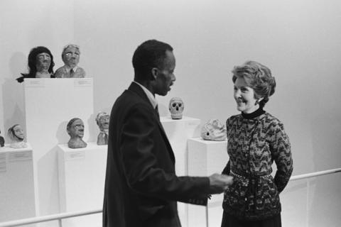 """James """"Son"""" Thomas with Nancy Reagan"""