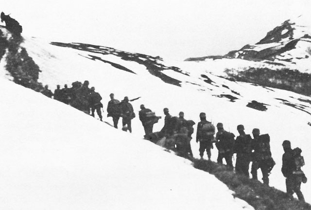Greek troops moving into the mountains, 1940