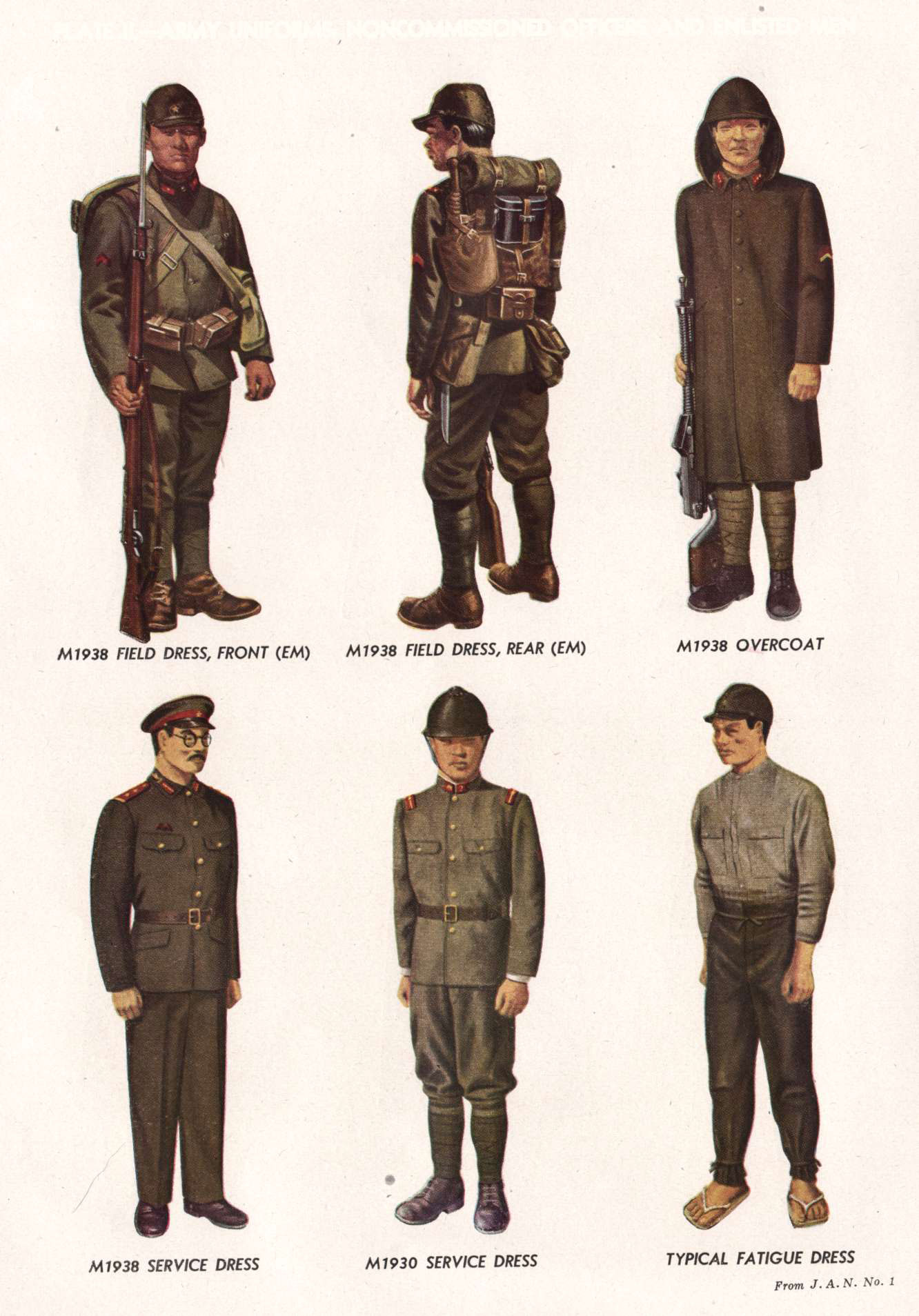 PLATE II.--ARMY UNIFORMS: NONCOMMISSIONED OFFICERS AND ENLISTED MEN