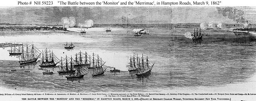 the account of events during the battle between uss monitor and the css merrimack in 1862 The south's css virginia and the north's uss monitor merrimack that was burned during a epoch in 1862 at hampton roads (battle of uss monitor.