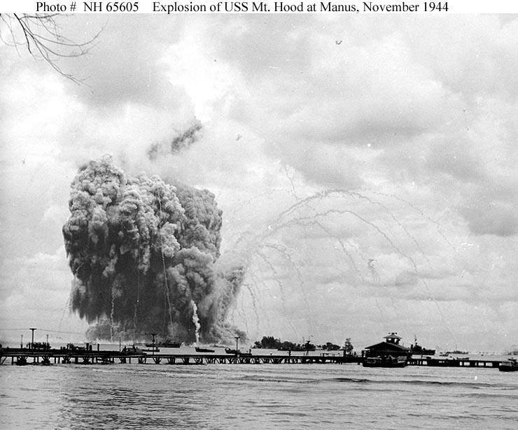 Usn Ships Uss Mount Hood Explosion 10 November 1944