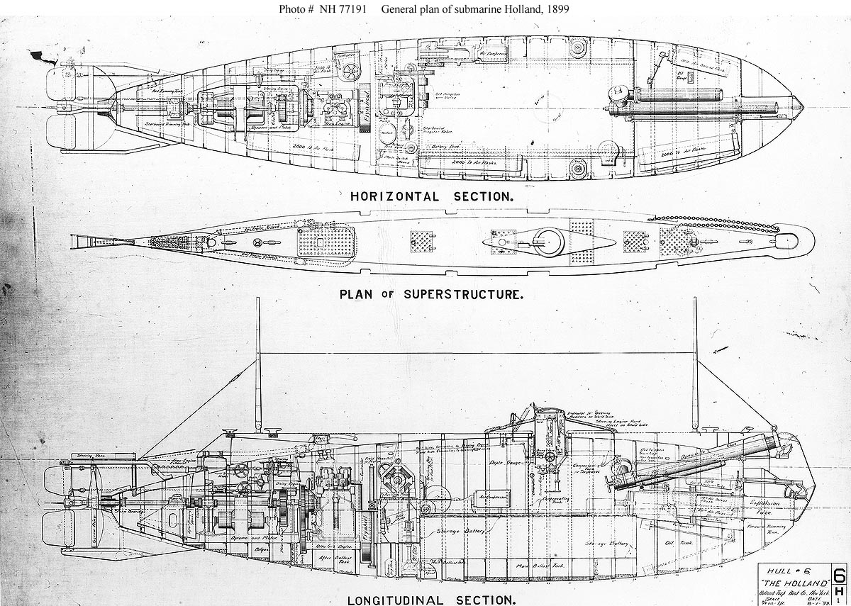 Usn Ships Uss Holland Submarine 1 Plans Models