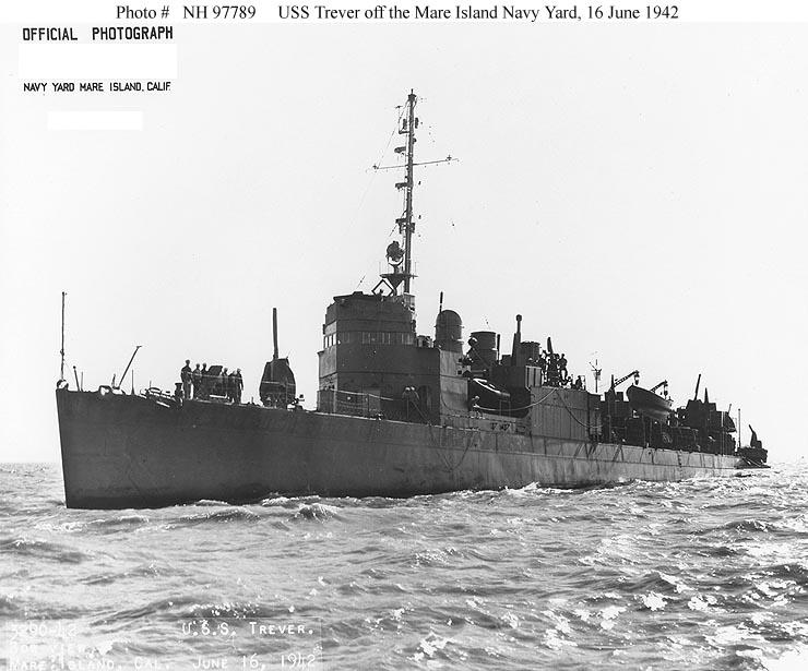 Usn Ships Uss Trever Dd 339 Later Dms 16 And Ag 110