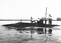 Photo # 19-N-6787:  USS Shark underway with members of her crew on deck, circa 1903-1907
