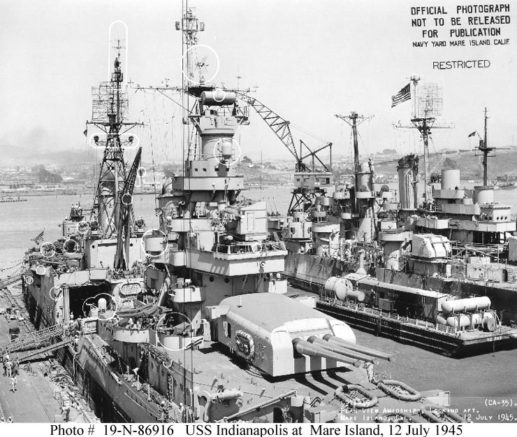 Usn Ships Uss Indianapolis Ca 35 In 1945
