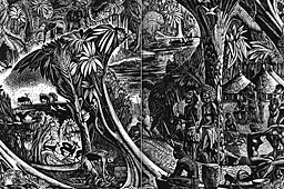 Wood engraving by the English artist J. Buckland Wright