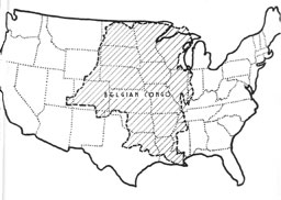 Map of Belgian Congo overlain on U.S.