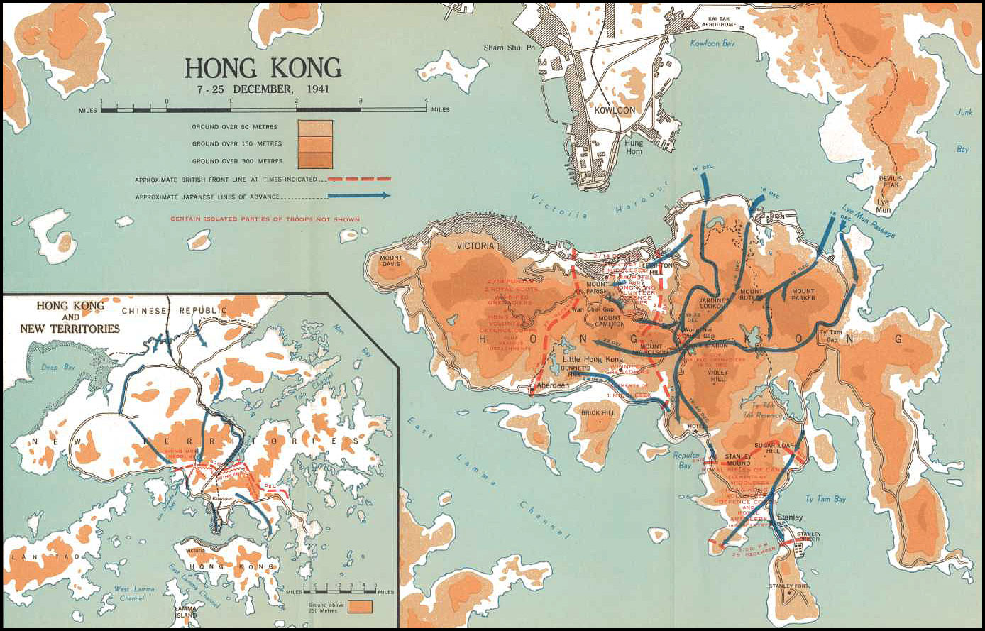 Map hong kong 7 25 december 1941
