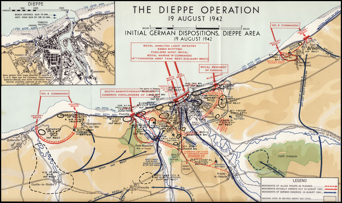 raid on dieppe The attack on dieppe was a probe to test the possibility of opening a second front in france in 1942 eisenhower didn't like the idea, guessing that there was a 50-50 chance of getting one division ashore, and 20 percent chance of maintaining a five division bridgehead (as at anzio, italy, a year later) eisenhower was.