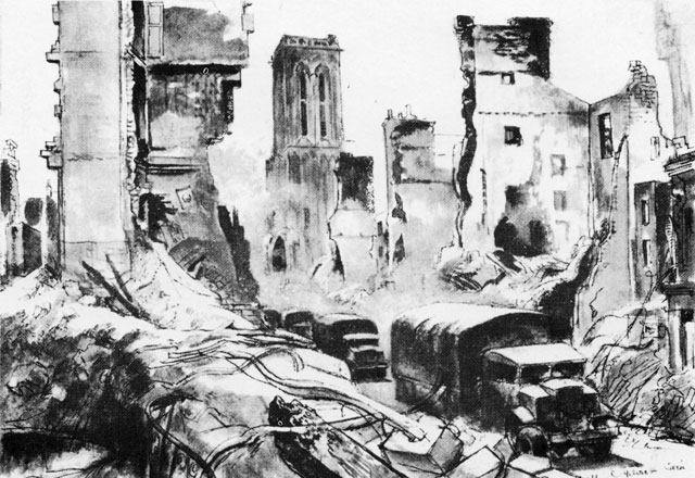 Ruined City Drawing Vi...