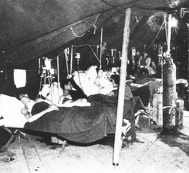 Army nurses at work in the postoperative ward, U.S. Army 10th Field Hospital