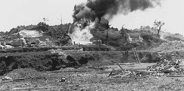 Sherman Flamethrower tank at Okinawa