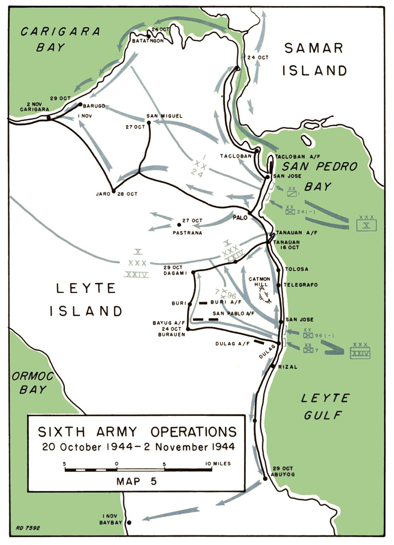 Location Of Leyte Gulf Map
