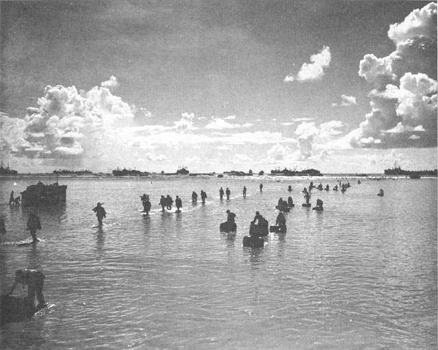 Peleliu s reef up to 700 yards wide in the landing areas required