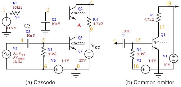 SPICE: каскодная схема и схема с общим эмиттером (для сравнения) .