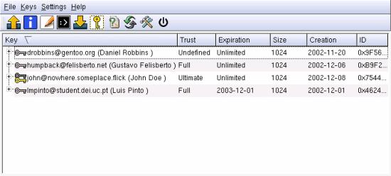 Fig. 2: kgpg key manage window
