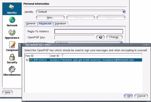 Fig. 4: kmail identity opties OpenGPG key