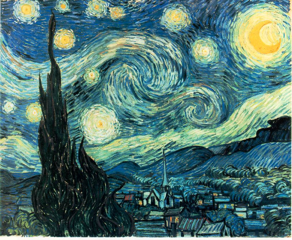 The Starry Night, by Vincent Van Gogh, June 1889 (210 Kb); Oil on Canvas, 72 x 92 cm (29 x 36 1/4 in); The Museum of Modern Art, New York