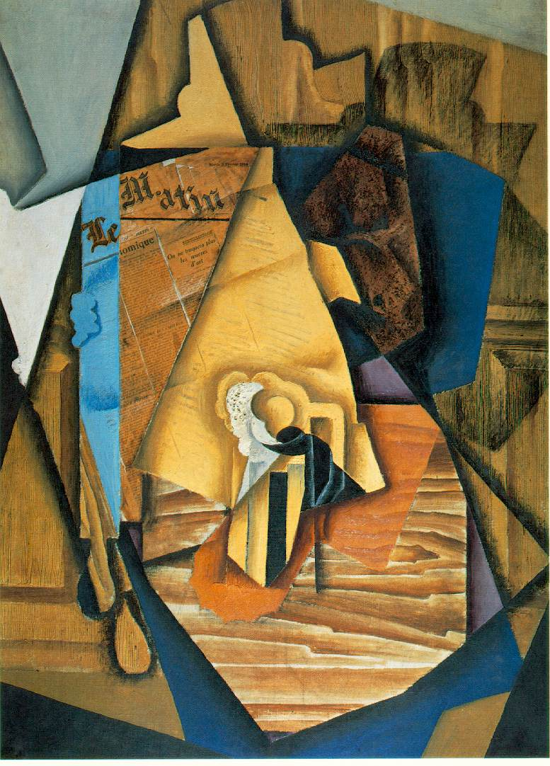 The Man at the Caf  1914; Oil and papier colle pasted on canvas, 99 x 72 cm; Acquavella Galleries, Inc., New York (DC 76)