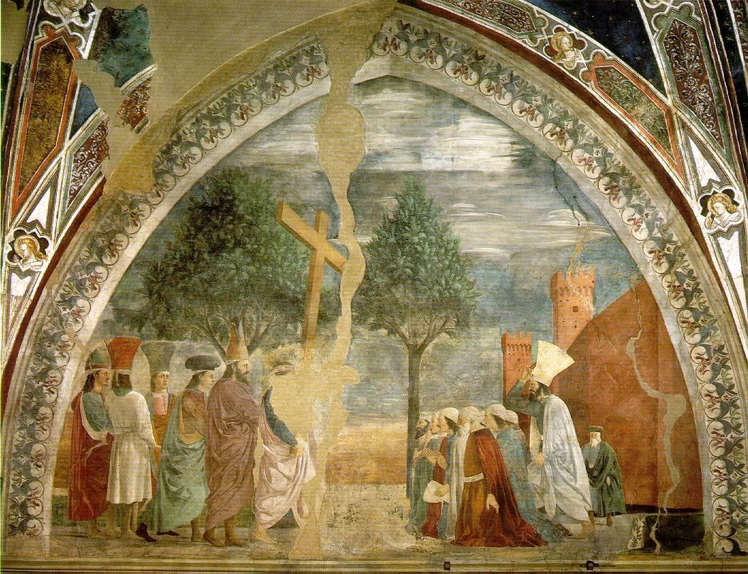Piero della Francesca (1416-92): Korsets opphøyelse (ca 1466), freske i kirken San Francesco i Arezzo