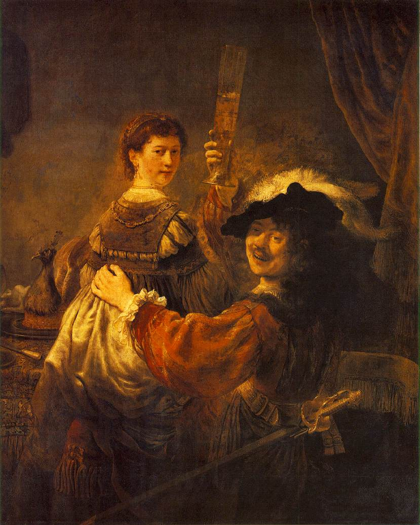 Rembrandt and saskia in the scene of the prodigal son in the tavern c