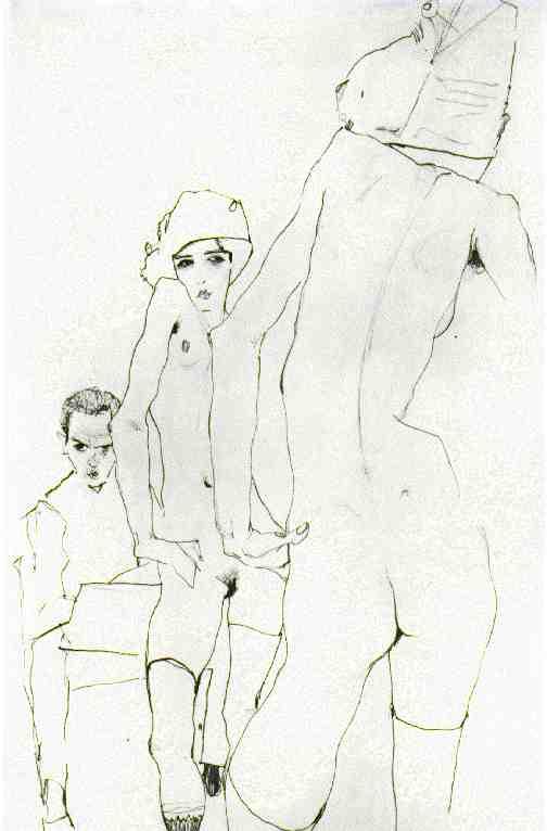 Schiele drawing nude before mirror 1910, pencil, Graphische Sammlung ...