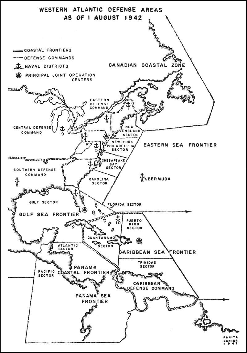 Aaf Antisubmarine Operations Western Atlantic Defense Areas As Of 1 August 1942