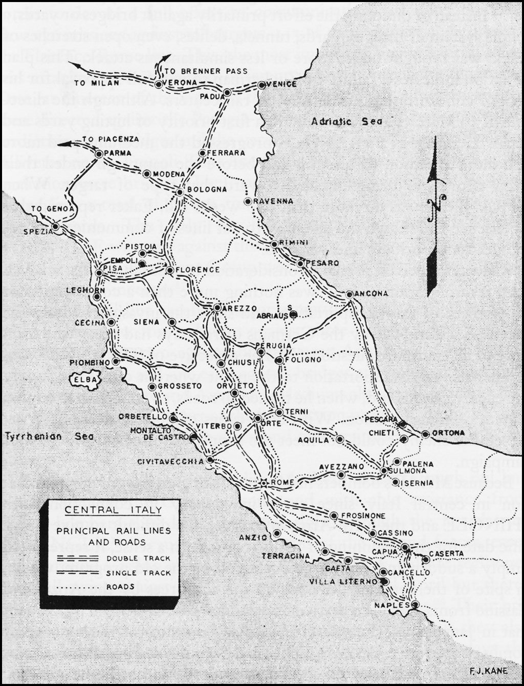 hyperwar army air forces in wwii vol iii German U-boat Map central italy principal rail lines and roads