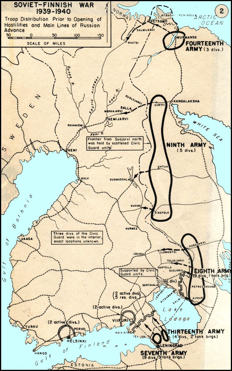 Hyperwar the soviet finnish war 1939 1940 usma map soviet finnish war 1939 1940 troop distribution and main lines gumiabroncs Gallery
