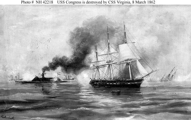 Civil War Naval Actions Css Virginia Destroys Uss