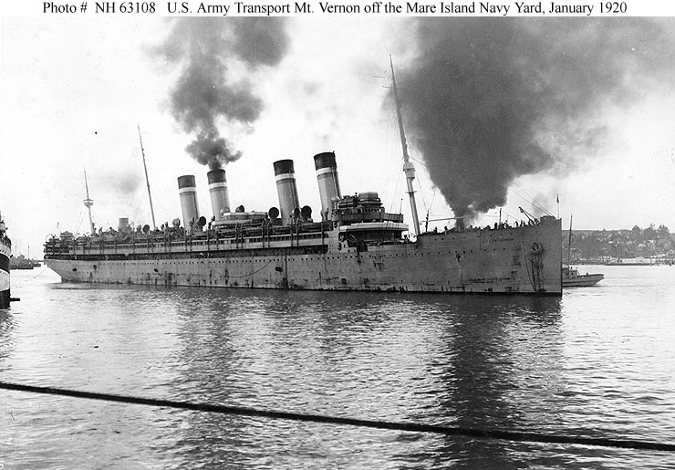 U S Army Ships Usat Mount Vernon 1919