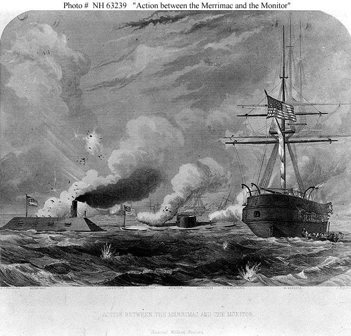 the naval battle between the uss monitor and the css merrimack in 1862 During the us civil war, the first sea battle in history between two ironclads happened at hampton roads on march 9, 1862 the union ironclad was the uss monitor, and the southern ironclad was.