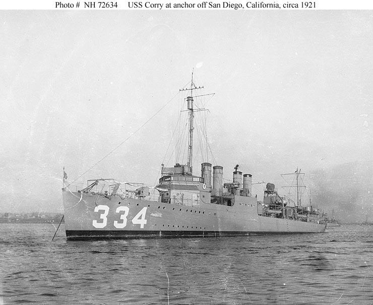 Usn Ships Uss Corry Dd 334