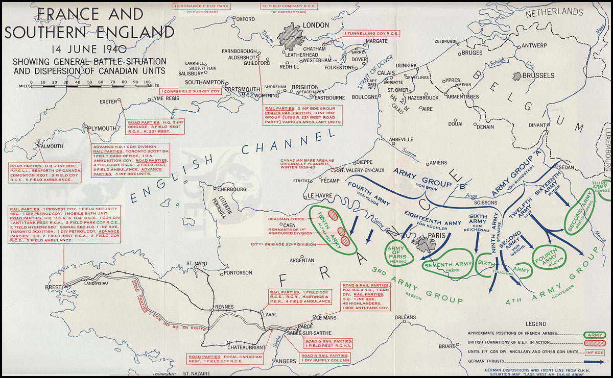 Map Of France 1940.Hyperwar Six Years Of War The Army In Canada Britain And The