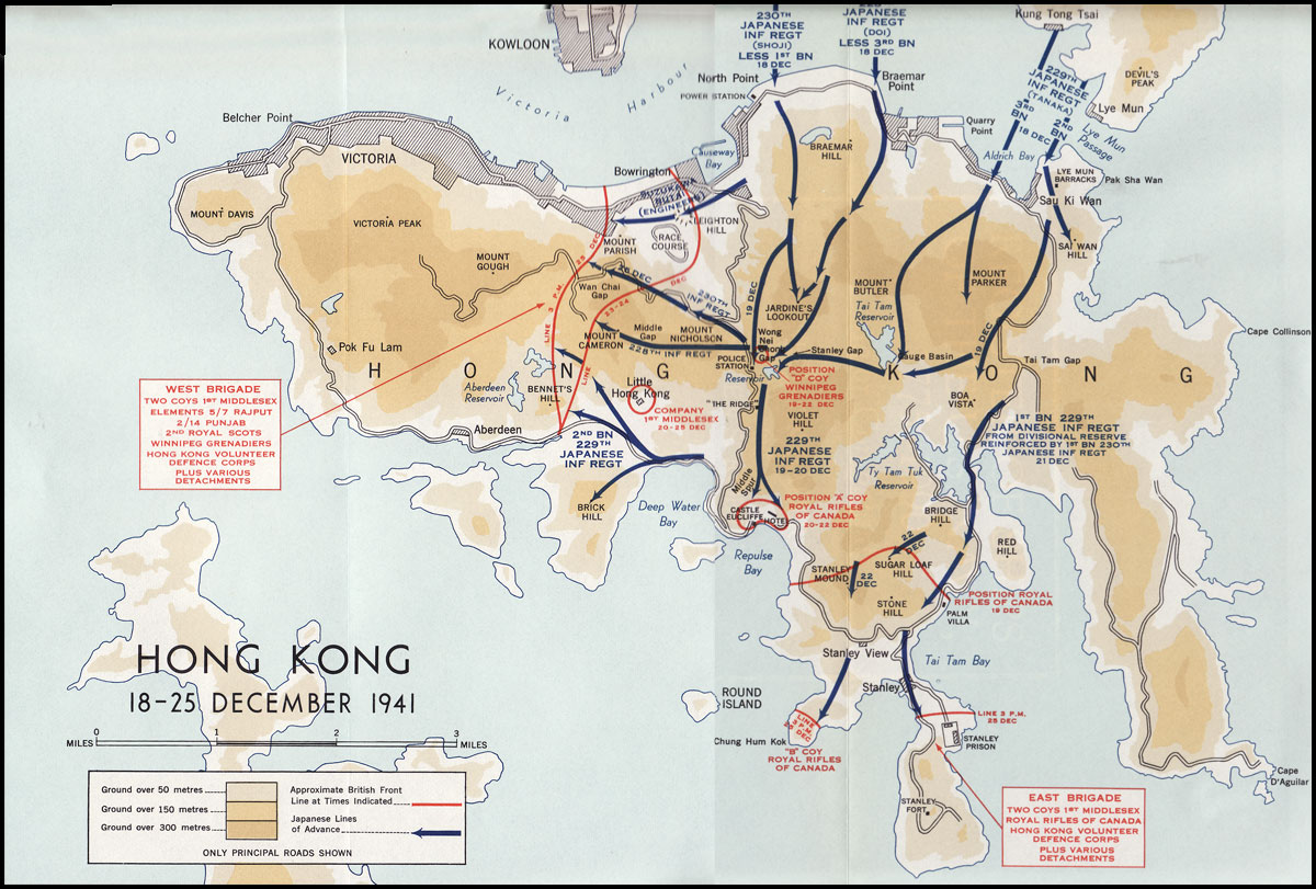 Hyperwar six years of war the army in canada britain and the map 7 hong kong 18 25 december 1941 gumiabroncs Images