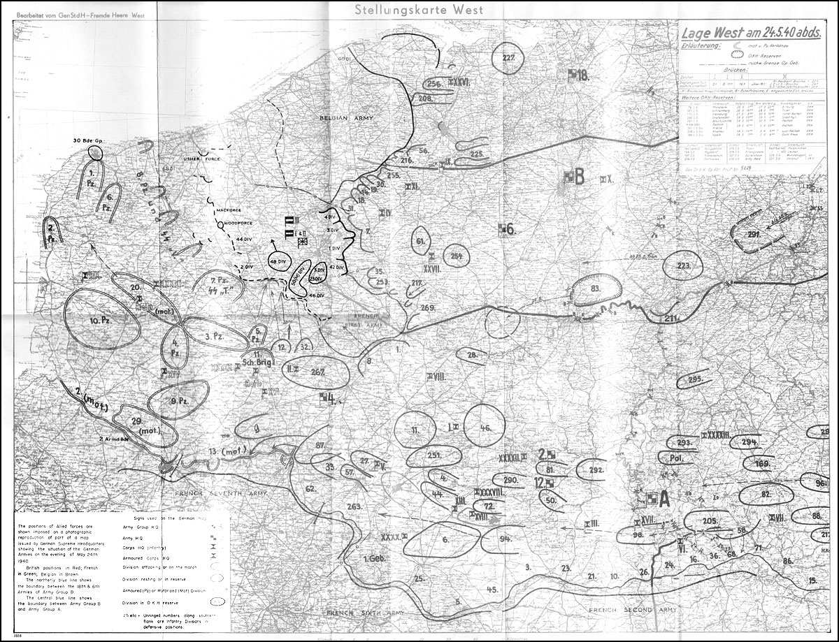 Hyperwar the war in france and flanders 1939 1940 uk history german situation map 24th may 1940 gumiabroncs Images