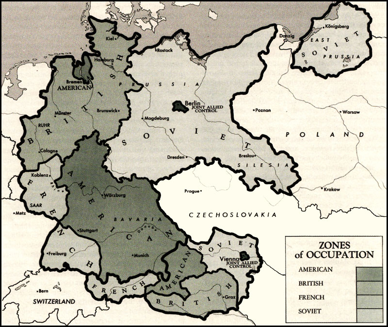 HyperWar US Army In WWII Biennial Reports Of The Chief Of Staff - Germany occupation zones map