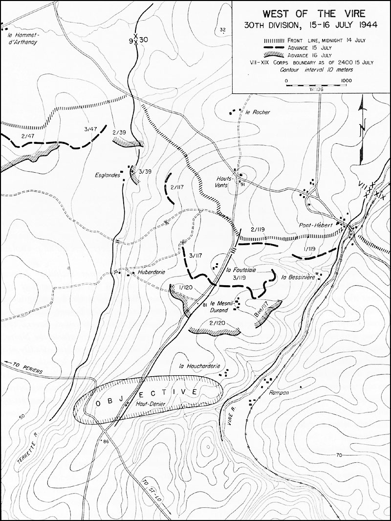 hyperwar st lo 7 july 19 july 1944 120 mm Artillery Shell the objective set for the 30th division was the crossroads where the p riers st l highway intersected the north south road that marked the axis of the