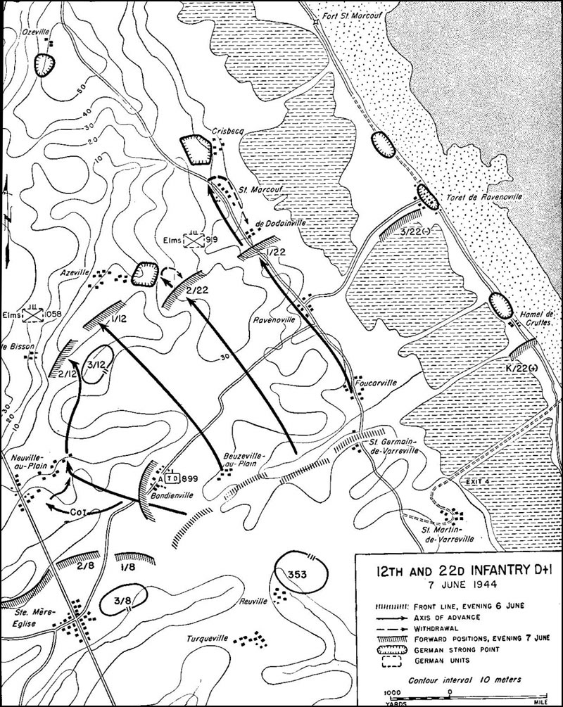 hyperwar utah beach to cherbourg 6 june 27 june 1944 chapter 4 Army 101st Airborne the 12th and 22d infantry regiments pursue their d day objectives