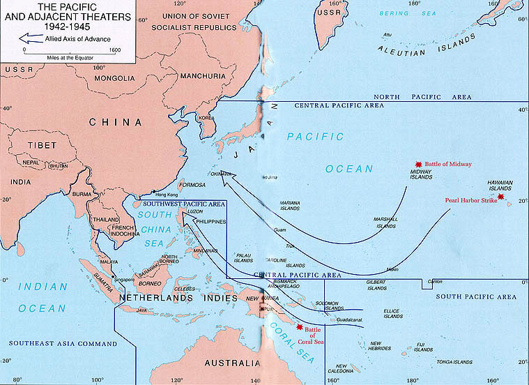 maps allied operations in world war ii 1942 1945 the pacific and adjacent theaters 1942 1945